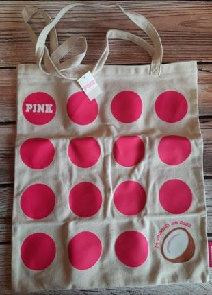 Пляжная , городская очень яркая сумка  victoria's secret pink виктория сикрет