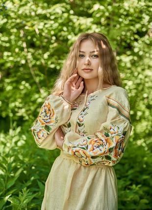 Вышиванка в стиле бохо вишиванка вишита сукня вышитое платье на 100% льне