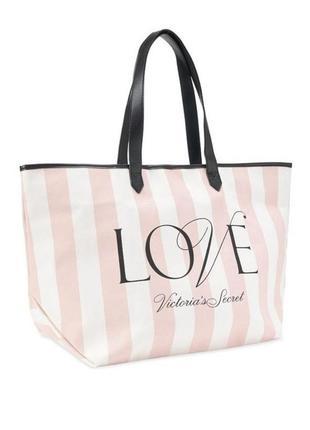 Пляжная городская сумка в класическую розовую полоску victoria's secret