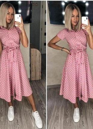 Платье в горошек миди, сукня