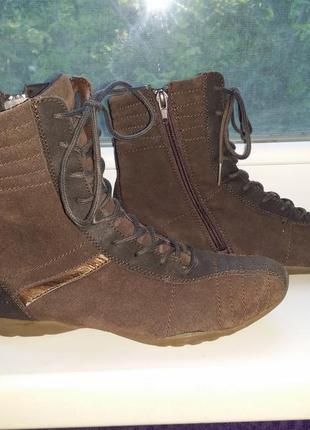 Шоколадные коричневые высокие кеды борцовки боксерки на шнуровке натур кожа германия