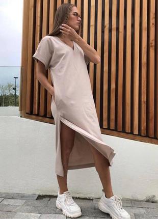 Платье-футболка с разрезом и карманами