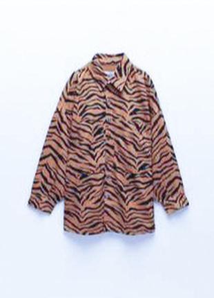 Zara супер стильна сорочка на довгий рукав animal принт тигр s