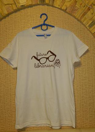 Футболка женская бежевая с очками р. 46-48 american apparel