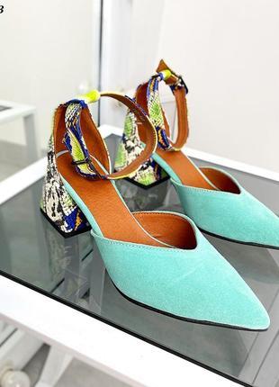 Код 5043 туфли замшевые с обтяжным каблуком под рептилию