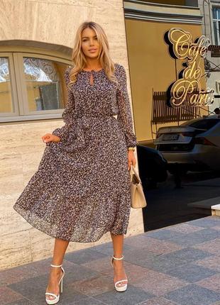 Женское шифоновое платье длины миди