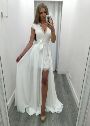 Белое вечернее платье макси