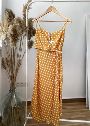 Женский сарафан с завязкой на груди и разрезом! цвет горчичный в горошек! ликвидация остатков