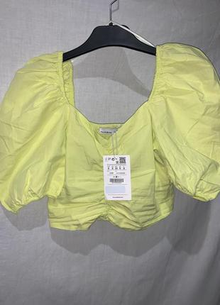 Блузка, кроп топ лимонного цвета pullandbear s