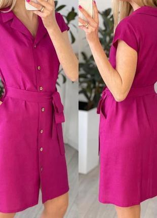 Легкое короткое платье на пуговицах с поясом на лето