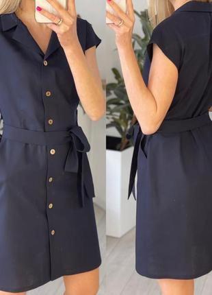 Легкое короткое платье на пуговицах с поясом на лето6 фото