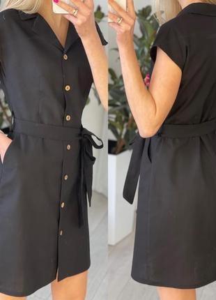 Легкое короткое платье на пуговицах с поясом на лето3 фото