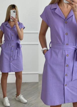 Легкое короткое платье на пуговицах с поясом на лето7 фото