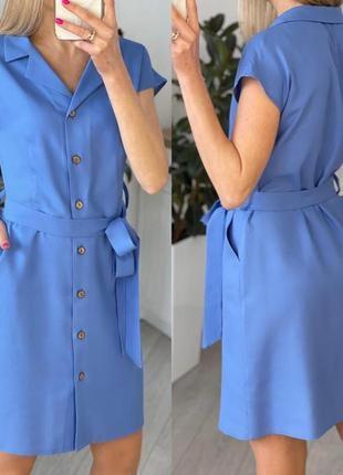 Легкое короткое платье на пуговицах с поясом на лето2 фото