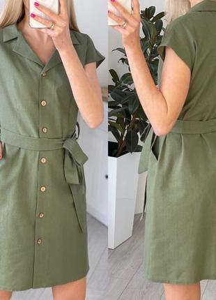 Легкое короткое платье на пуговицах с поясом на лето4 фото