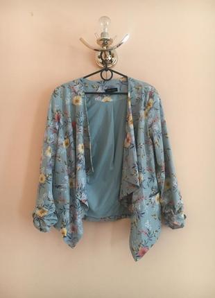 Батал большой размер стильный пиджак пиджачек блейзер жакет жакетик цветы