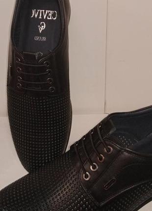 Туфли мужские кожа перфорация