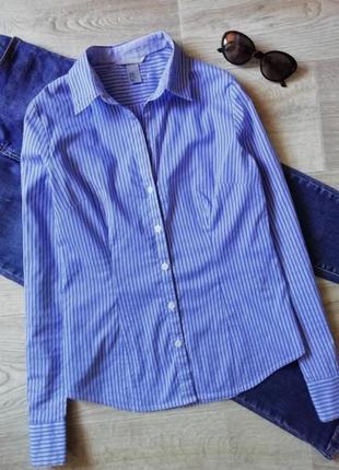 Базовая рубашка в синюю полоску, сорочка, деловая рубашка в офисном стиле, блузка, блуза