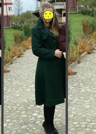 Роскошное плотное шерстяное пальто тренч с поясом / 80% шерсть