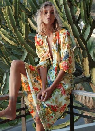 Платье рубашка в цветочный принт zara оригинал