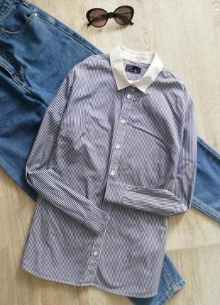 Натуральная рубашка свободного кроя с контрастным воротником, рубашка в деловом стиле , сорочка, блузка, блуза