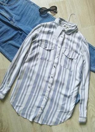 Ультрамодная натуральная рубашка свободного кроя, сорочка оверсайз, рубашка бойфренд с накладными карманами, блуза свободного кроя