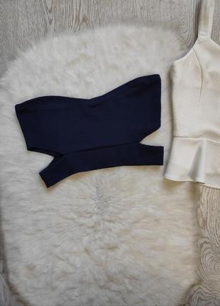 Синий кроп топ стрейч с вырезами по бокам на талии бандо без шлеек бретелей майка короткая