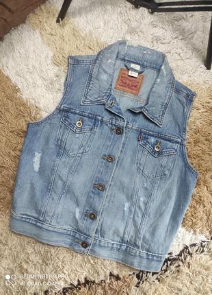 Брендовая джинсовая жилетка, фирменная джинсовая безрукавка levis - л-хл