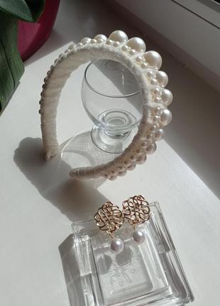 Велюровий бархатний обруч з перлинами