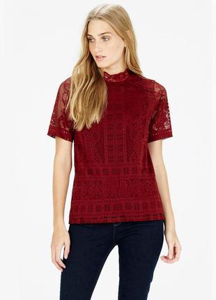 Кружевная блуза топ винного цвета warehouse