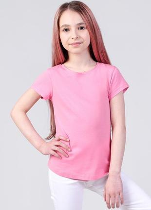 Футболка светло-розовая базовая для девочки