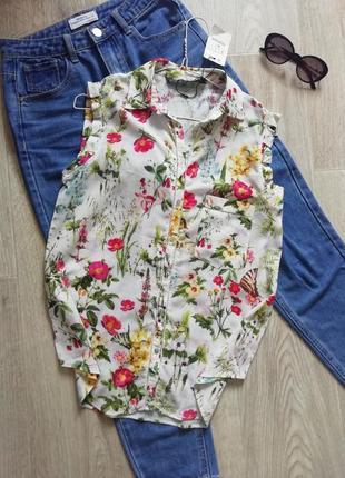 Натуральная блуза свободного кроя в цветочный принт, блузка, рубашка оверсайз, майка, футболка