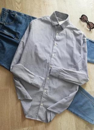 Рубашка оверсайз в синюю полоску, сорочка бойфренд, рубашка свободного кроя в мужском стиле