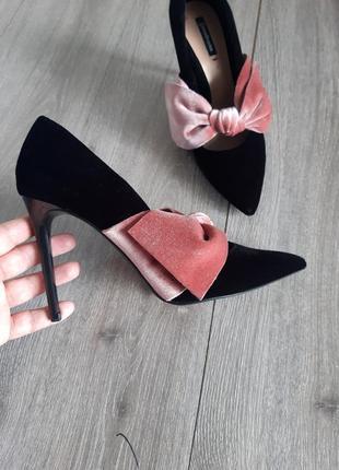 Обалденные туфли лодочки велюр на высоком каблуке чёрные,размер 38