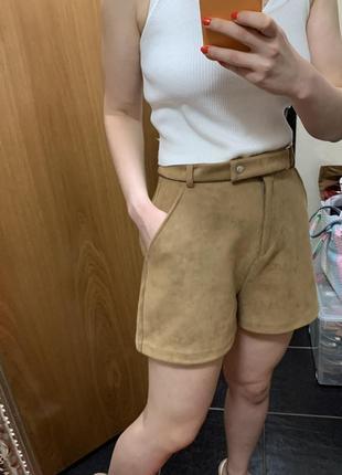 Шорты коричневые бермуды замшевые шорты