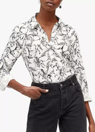 Белая натуральная рубашка блуза с принтом рисунком лошадями лошадь пуговицами батал вискоза