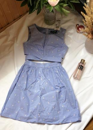 Новий костюм топ і спідниця голубого кольору
