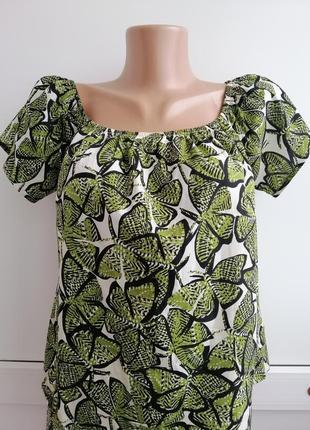 Блуза женская белая зелёная