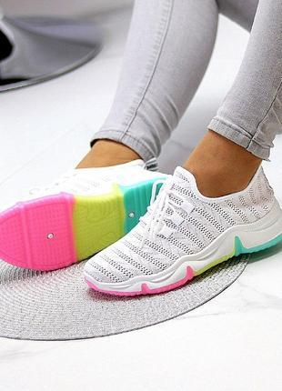 Белые лёгкие летние текстильные кроссовки/мокасины сетка для бега/спорта 35-40
