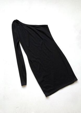 Стильное чёрное приталенное платье в рубчик boohoo размер 8