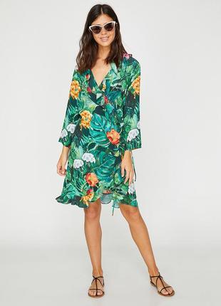 Koton цветочное платье оборки рюши воланы цветочный принт цветы флорал