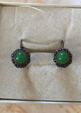 Медьхіорові сережки з натуральним каменем