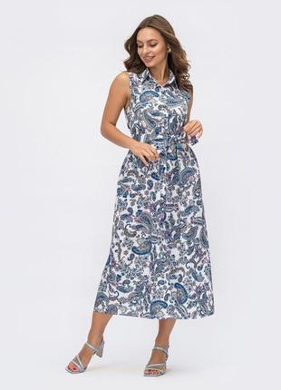 Идеальное хлопковое натуральное платье рубашка в стильный принт огурцы ниже колен миди без рукавов