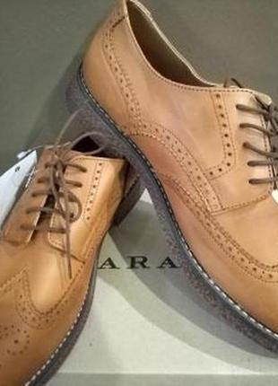 Мужские модельные кожаные туфли броги zara. 43 р. обувь zara изготовлена из натуральных материалов,