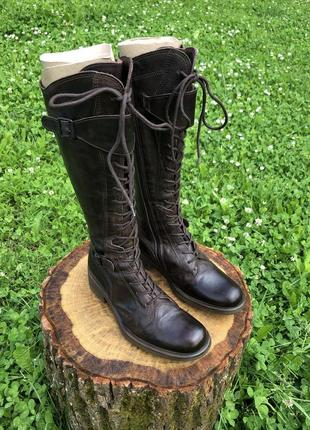 Сапоги ,черевики шкіряні,трендові в стилі мілітарі італія