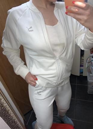 Белый костюм пума спортивный костюм белый puma брендовый