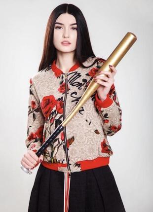 Куртка-бомбер в розы vlas na украинский дизайнер