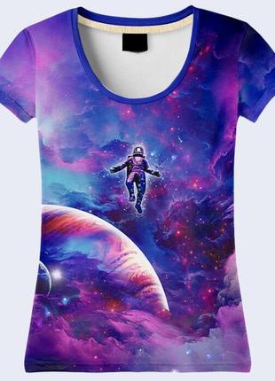 Классная футболка 3d комонавт в космосе