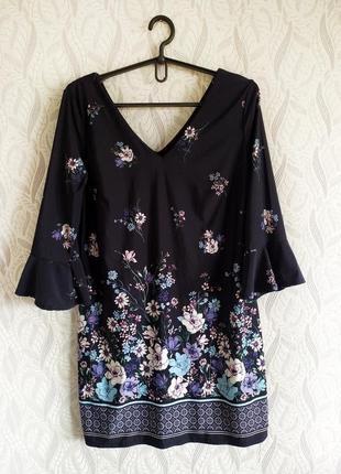F&f сукня в принт квіти з хвилястими рукавами
