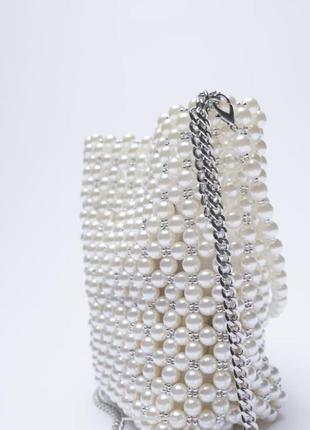 Стильная сумка мешок в бусинках и камнях zara